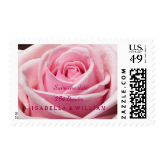 Pink Rose Flower Save The Date Postage