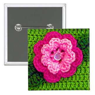 Pink Rose Flower Square Button