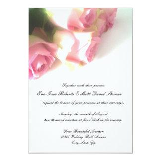 Pink rose flower wedding invitations