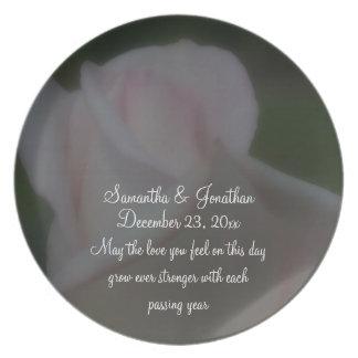 Pink Rose Flower Wedding Keepsake Plate