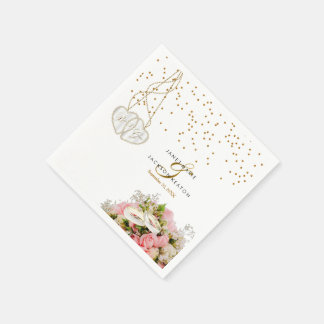 Pink Rose Flower Wedding Napkin