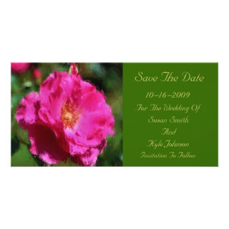 Pink Rose Flower Wedding Save The Date Card