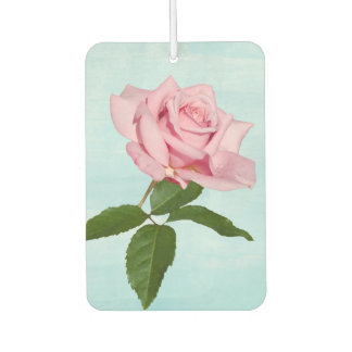 Pink Rose Flower with Dew Drops Customizable Air Freshener