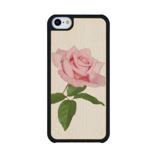 Pink Rose Flower with Dew Drops Customizable Carved® Maple iPhone 5C Case