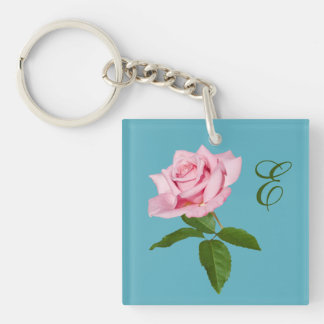 Pink Rose Flower with Dew Drops Customizable Double-Sided Square Acrylic Keychain
