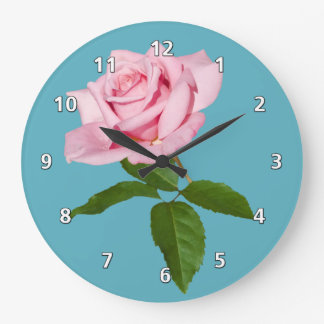 Pink Rose Flower with Dew Drops Customizable Large Clock