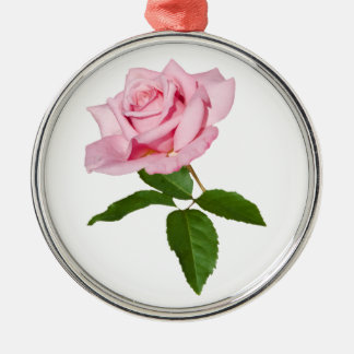 Pink Rose Flower with Dew Drops Customizable Metal Ornament