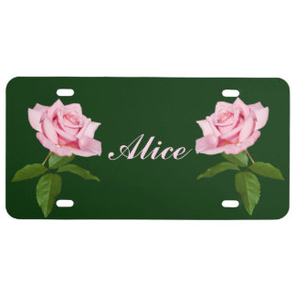 Pink Rose Flower with Dew Drops Customizable Name License Plate