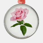 Pink Rose Flower with Dew Drops Customizable Round Metal Christmas Ornament