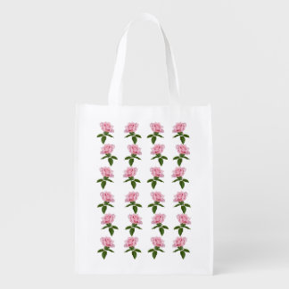 Pink Rose Flower with Dew Drops Customizable Reusable Grocery Bags