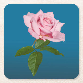 Pink Rose Flower with Dew Drops Customizable Square Paper Coaster