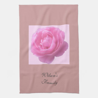 pink rose flower with family name towel