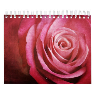 Pink Rose Flower with Grunge Texture Calendar