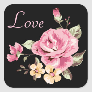 Pink Rose Flowers Black Floral Love Stickers