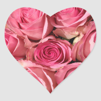 Pink Rose Flowers Heart Sticker