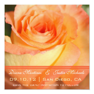 Pink Rose Flowers Save the Date Card