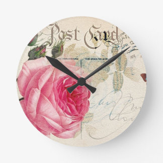 Pink Rose French Accent Round Wall Clock