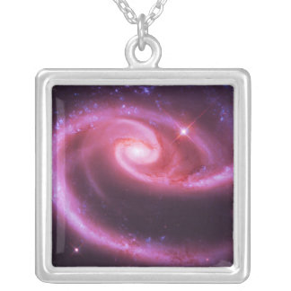 Pink Rose Galaxies Silver Plated Necklace