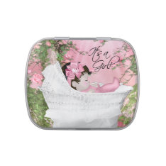 Pink Rose Garden Baby Girl Shower Jelly Belly Candy Tin at Zazzle
