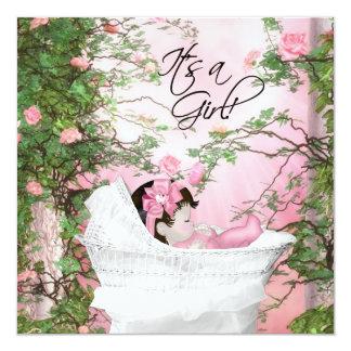 Pink Rose Garden Baby Shower Invitation