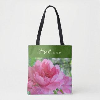 Pink Rose Garden Flower Floral Tote Bag