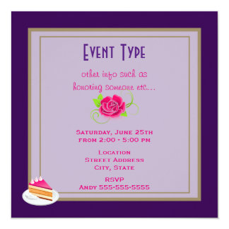 Pink Rose Generic Party Card