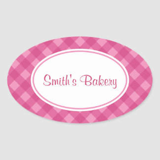 Pink Rose Gingham Stickers