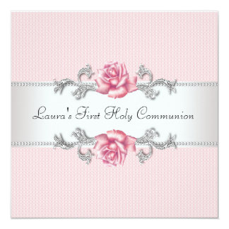 Pink Rose Girls First Communion Card