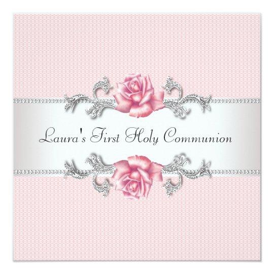 Pink Rose Girls First Communion Card