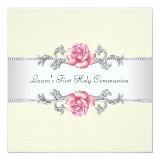 Pink Rose Girls First Communion 5.25x5.25 Square Paper Invitation Card
