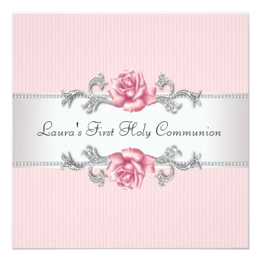Pink Rose Girls First Communion Invitations