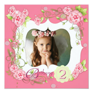 Pink Rose Girls Photo 2nd Birthday Party Card