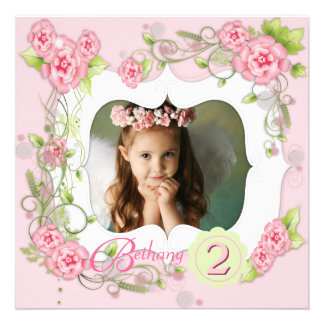 Pink Rose Girls Photo 2nd Birthday Party Personalized Announcement