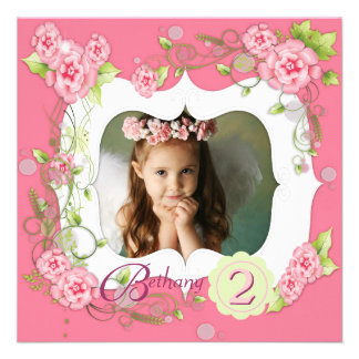 Pink Rose Girls Photo 2nd Birthday Party Personalized Invitations