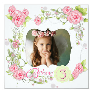 Pink Rose Girls Photo 3rd Birthday Party 5.25x5.25 Square Paper Invitation Card