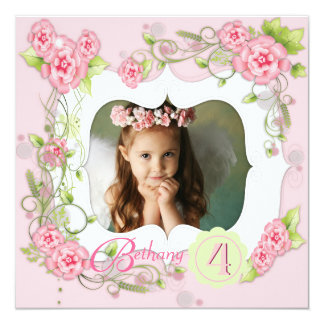 Pink Rose Girls Photo 4th Birthday Party Card