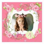 Pink Rose Girls Photo 4th Birthday Party Personalized Invitations