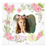 Pink Rose Girls Photo 4th Birthday Party Custom Invitations