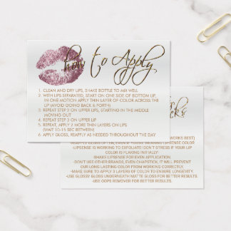 Pink Rose Glitter Lips 2 - How to Apply Business Card