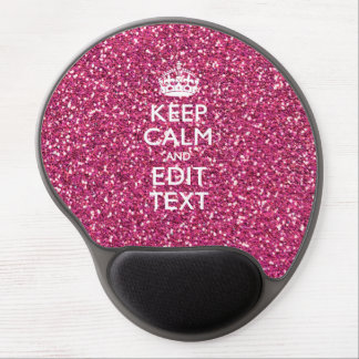 Pink Rose Glitter Style KEEP CALM AND Your Text Gel Mouse Pad