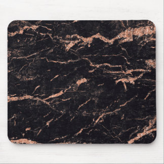 Pink Rose Gold Black Glitter Marble Stone Mouse Pad
