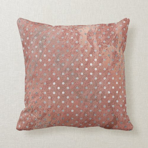 Pink Rose Gold Blush Copper Marbl Silver Gray Dots Throw Pillow