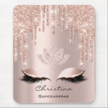 "Pink Rose Gold Blush Drip Sparkly Lotus Name Mouse Pad<br><div class=""desc"">florenceK design</div>"