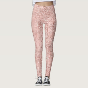 f3436e050 Pink Rose Gold Blush Glitter Shiny Glass Metallic Leggings