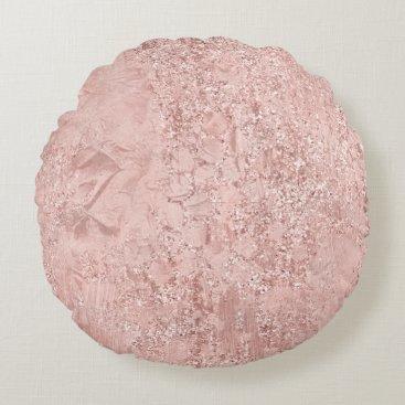 Beach Themed Pink Rose Gold Blush Glitter Shiny Glass Metallic Round Pillow
