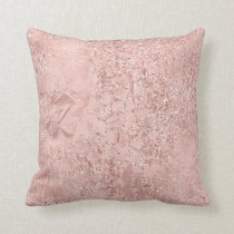 Pink Rose Gold Blush Glitter Shiny Glass Metallic Throw Pillow