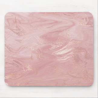 Pink Rose Gold Blush Gold Molten Stone Marble Mouse Pad