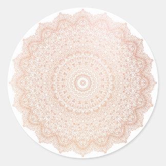 Pink Rose Gold  Blush Metallic Mandala Flower Classic Round Sticker