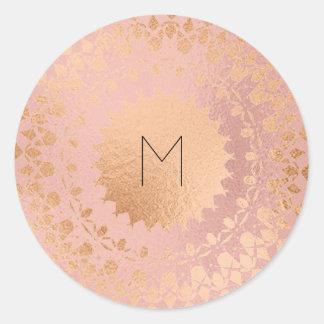 Pink Rose Gold Blush Metallic Mandala Monogram Classic Round Sticker
