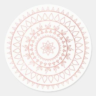 Pink Rose Gold Blush Metallic Mandala White Classic Round Sticker